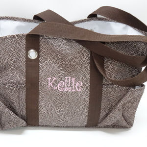 Thirty-One Brown Pin Dots Organizing Med Util Tote